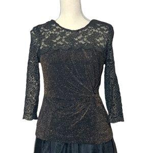 Alex Evenings Metallic Black & Gold Lace Blouse